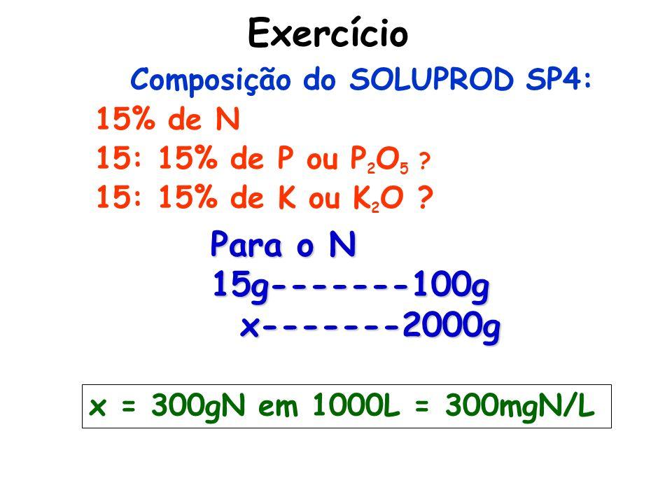 Exercício Composição do SOLUPROD SP4: 15% de N 15: 15% de P ou P 2 O 5 ? 15: 15% de K ou K 2 O ? x = 300gN em 1000L = 300mgN/L Para o N 15g-------100g