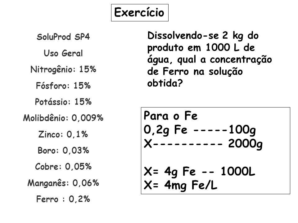 SoluProd SP4 Uso Geral Nitrogênio: 15% Fósforo: 15% Potássio: 15% Molibdênio: 0,009% Zinco: 0,1% Boro: 0,03% Cobre: 0,05% Manganês: 0,06% Ferro : 0,2%