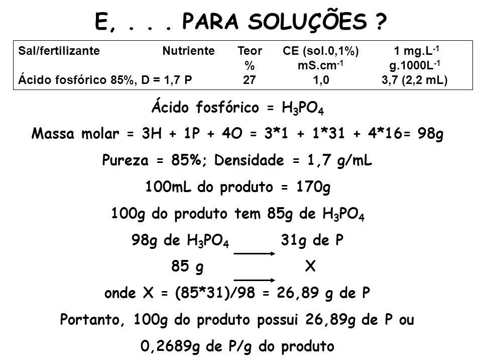E,... PARA SOLUÇÕES ? Sal/fertilizanteNutrienteTeorCE (sol.0,1%) 1 mg.L -1 %mS.cm -1 g.1000L -1 Ácido fosfórico 85%, D = 1,7P271,03,7 (2,2 mL) Ácido f
