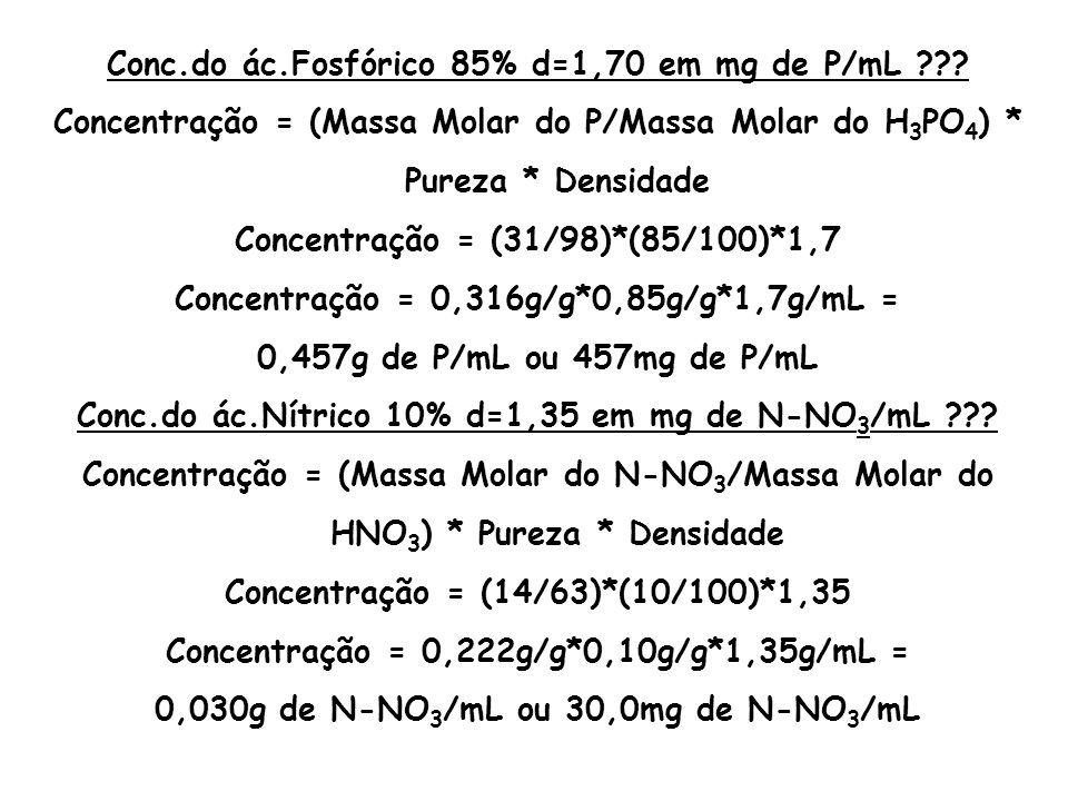 Conc.do ác.Fosfórico 85% d=1,70 em mg de P/mL ??? Concentração = (Massa Molar do P/Massa Molar do H 3 PO 4 ) * Pureza * Densidade Concentração = (31/9