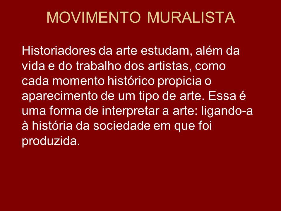 MOVIMENTO MURALISTA Historiadores da arte estudam, além da vida e do trabalho dos artistas, como cada momento histórico propicia o aparecimento de um