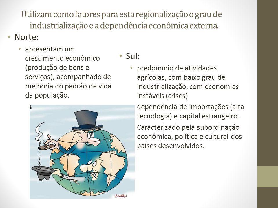 Utilizam como fatores para esta regionalização o grau de industrialização e a dependência econômica externa. Norte: apresentam um crescimento econômic