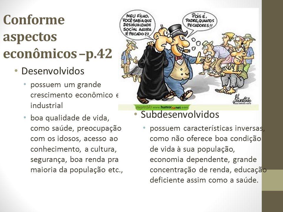 Conforme aspectos econômicos –p.42 Desenvolvidos possuem um grande crescimento econômico e industrial boa qualidade de vida, como saúde, preocupação c