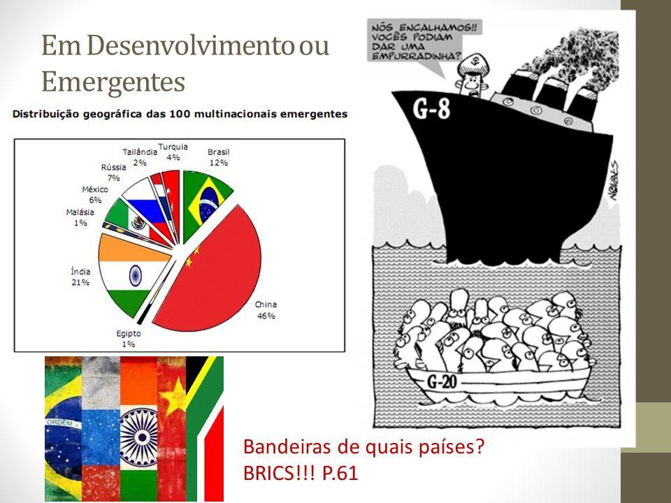 Em Desenvolvimento ou Emergentes Bandeiras de quais países? BRICS!!! P.61