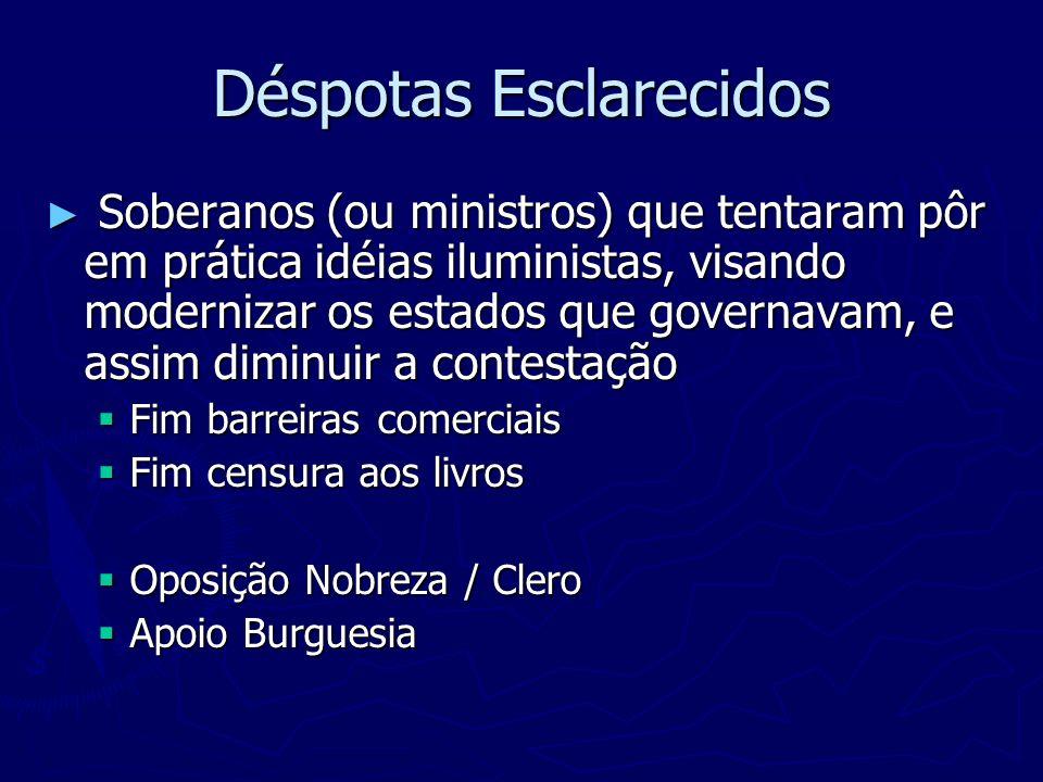 Déspotas Esclarecidos Soberanos (ou ministros) que tentaram pôr em prática idéias iluministas, visando modernizar os estados que governavam, e assim d