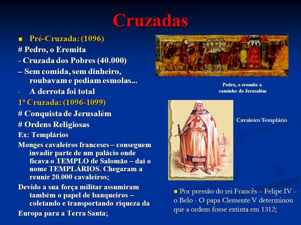 Cruzadas Pré-Cruzada: (1096) Pré-Cruzada: (1096) # Pedro, o Eremita - Cruzada dos Pobres (40.000) – Sem comida, sem dinheiro, roubavam e pediam esmola