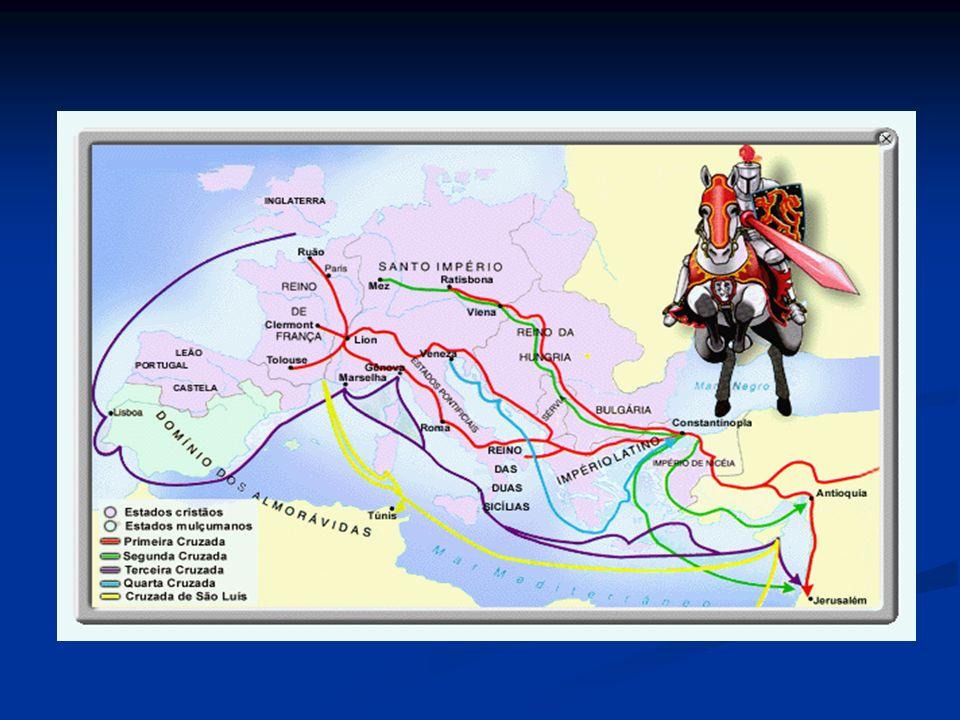 Cruzadas 6ª Cruzada: (1228-1229) 6ª Cruzada: (1228-1229) # Negociação com Muçulmanos # Peregrinação Livre # Derrota em Gaza dos Cristãs; 7ª Cruzada: (1248-1254) 7ª Cruzada: (1248-1254) # Egito: Cristãos derrotados (cheias do Nilo + epidemias) 8ª Cruzada: (1270) 8ª Cruzada: (1270) # Peste assola exércitos Cristãos definitivamente perdedores.