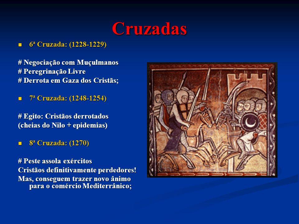 Cruzadas 6ª Cruzada: (1228-1229) 6ª Cruzada: (1228-1229) # Negociação com Muçulmanos # Peregrinação Livre # Derrota em Gaza dos Cristãs; 7ª Cruzada: (