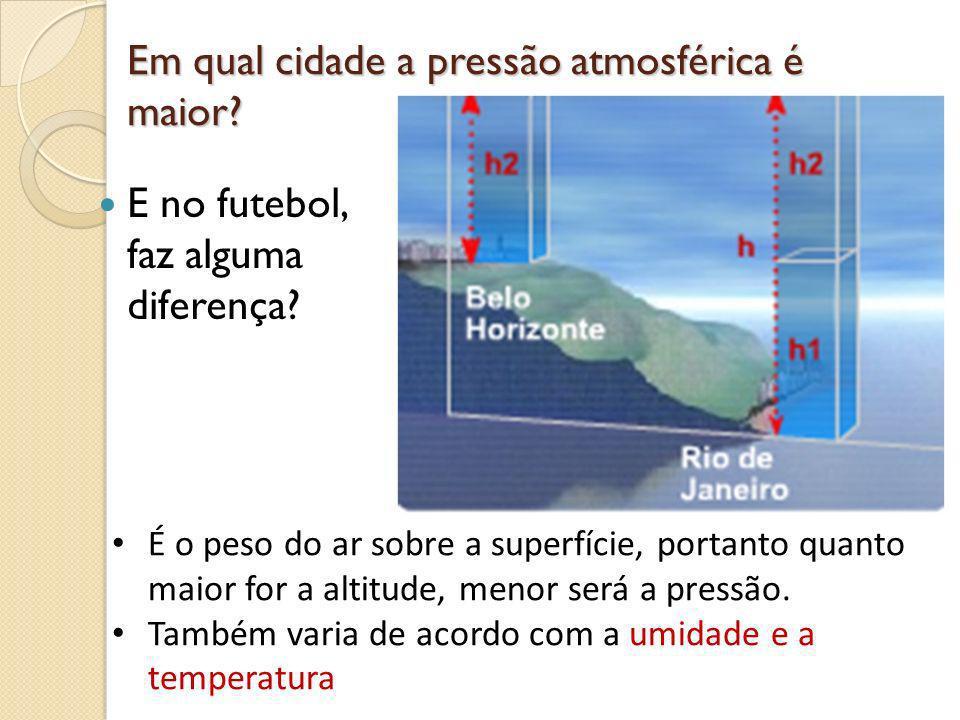Em qual cidade a pressão atmosférica é maior? E no futebol, faz alguma diferença? É o peso do ar sobre a superfície, portanto quanto maior for a altit