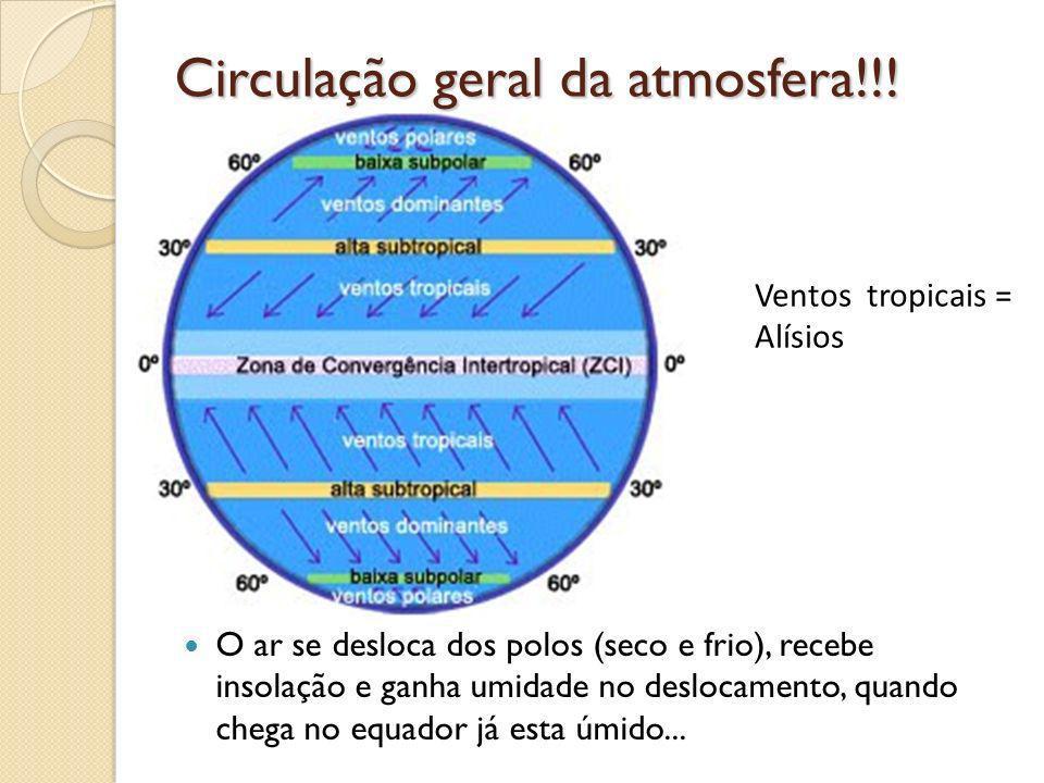 Circulação geral da atmosfera!!! O ar se desloca dos polos (seco e frio), recebe insolação e ganha umidade no deslocamento, quando chega no equador já