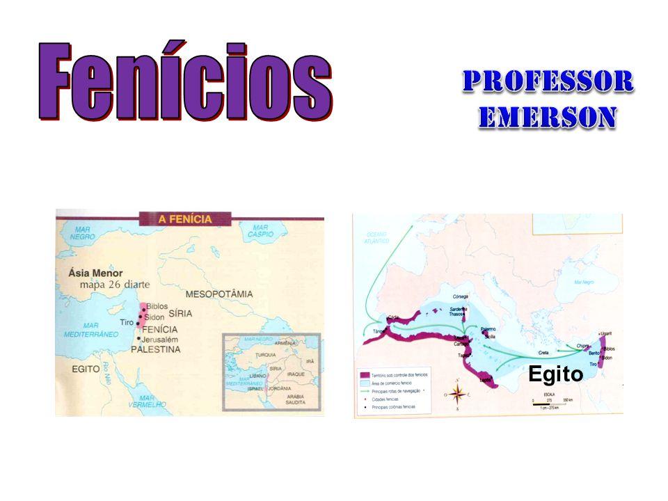 OS FENÍCIOS: Atual Líbano; Descentralização política; Cidades-Estado(Ugarit, Biblos, Sidon, Tiro); Comércio, navegação e pirataria; Fundação de colônias no Mar Mediterrâneo: –Cartago (TUN); –Cádiz e Málaga (ESP); –Palermo (ITA); Maior legado: ALFABETO FONÉTICO.