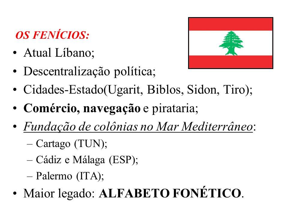 OS FENÍCIOS: Atual Líbano; Descentralização política; Cidades-Estado(Ugarit, Biblos, Sidon, Tiro); Comércio, navegação e pirataria; Fundação de colôni