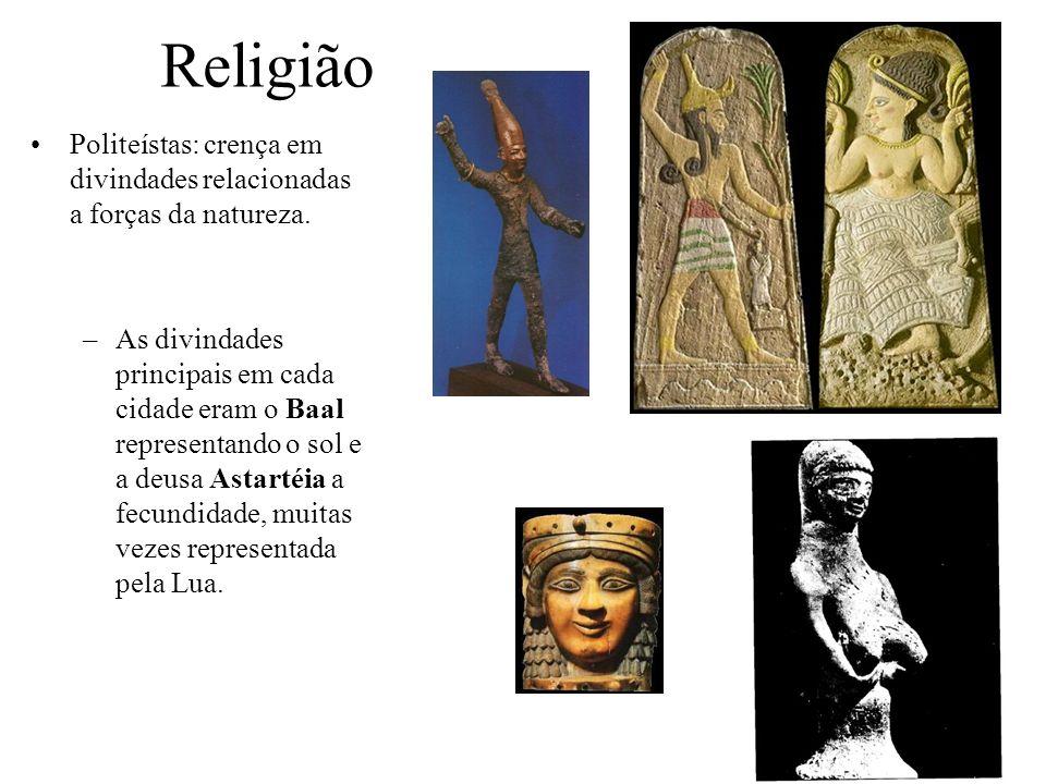 Religião Politeístas: crença em divindades relacionadas a forças da natureza. –As divindades principais em cada cidade eram o Baal representando o sol