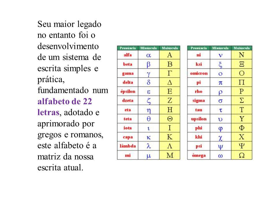 Seu maior legado no entanto foi o desenvolvimento de um sistema de escrita simples e prática, fundamentado num alfabeto de 22 letras, adotado e aprimo