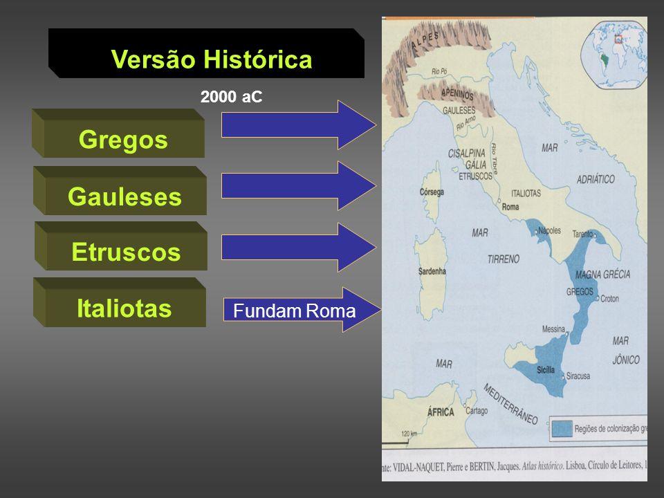 Versão Histórica Gregos Gauleses Etruscos Italiotas Península Itálica 2000 aC Fundam Roma
