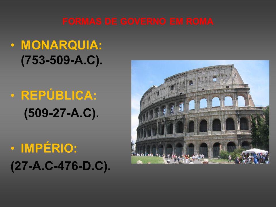 FORMAS DE GOVERNO EM ROMA MONARQUIA: (753-509-A.C). REPÚBLICA: (509-27-A.C). IMPÉRIO: (27-A.C-476-D.C).