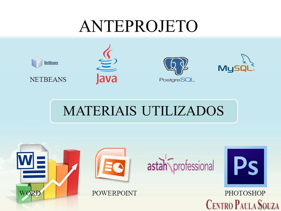 ANTEPROJETO MATERIAIS UTILIZADOS NETBEANS WORDPOWERPOINT PHOTOSHOP