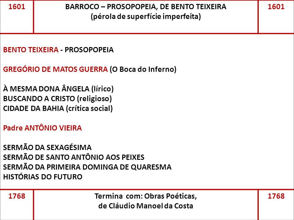 1601BARROCO – PROSOPOPEIA, DE BENTO TEIXEIRA (pérola de superfície imperfeita) 1601 BENTO TEIXEIRA - PROSOPOPEIA GREGÓRIO DE MATOS GUERRA (O Boca do I