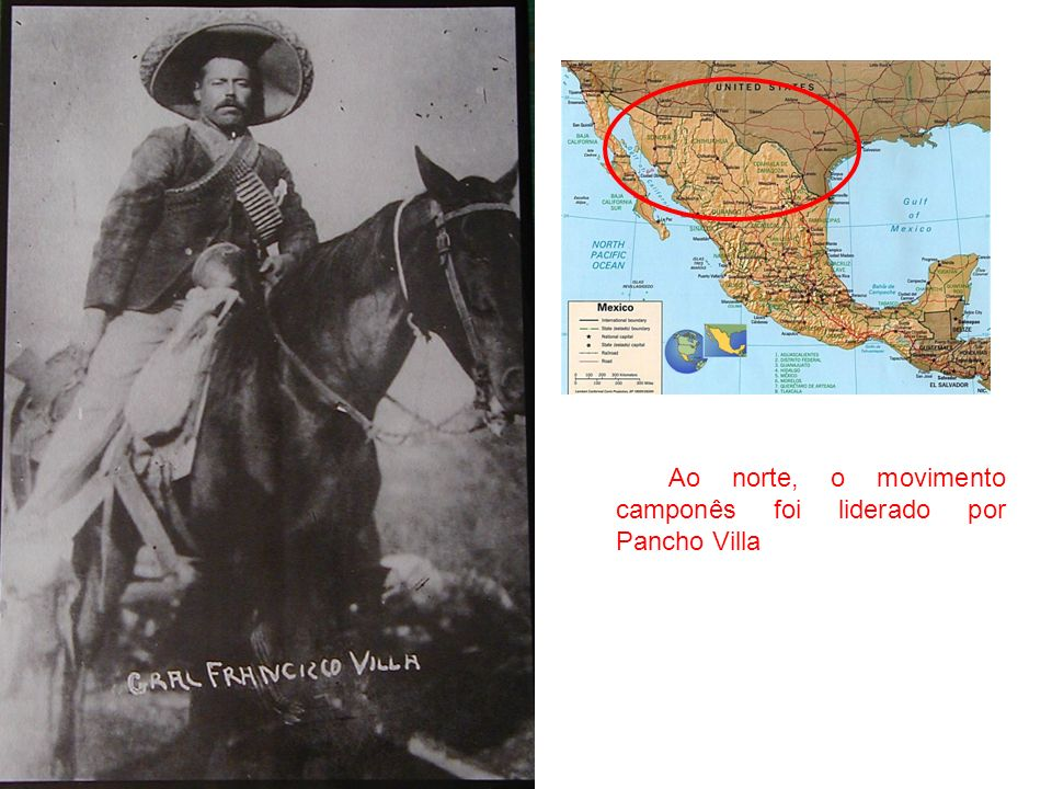Os camponeses do sul, liderados por Emiliano Zapata, invadiam e incendiavam fazendas e refinarias de açúcar, e ao mesmo tempo organizavam um exército popular