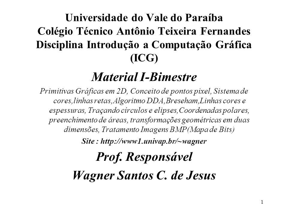 1 Universidade do Vale do Paraíba Colégio Técnico Antônio Teixeira Fernandes Disciplina Introdução a Computação Gráfica (ICG) Material I-Bimestre Prim