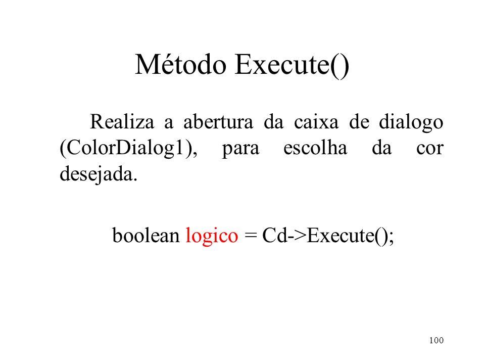 100 Método Execute() Realiza a abertura da caixa de dialogo (ColorDialog1), para escolha da cor desejada. boolean logico = Cd->Execute();