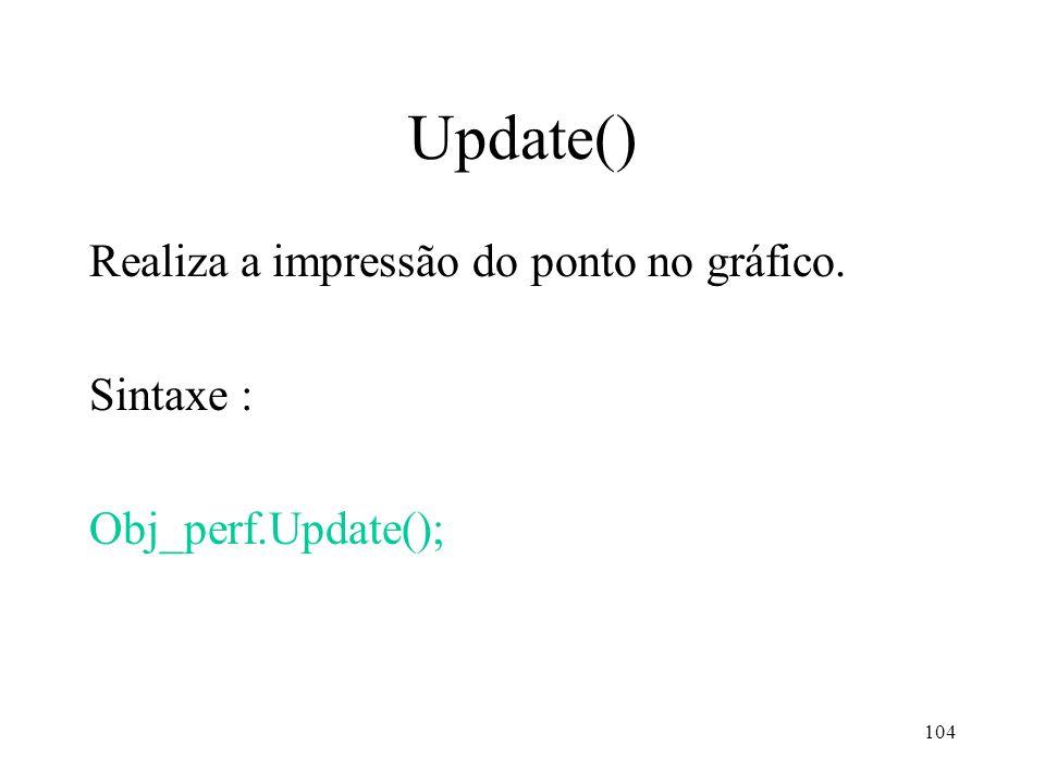 104 Update() Realiza a impressão do ponto no gráfico. Sintaxe : Obj_perf.Update();