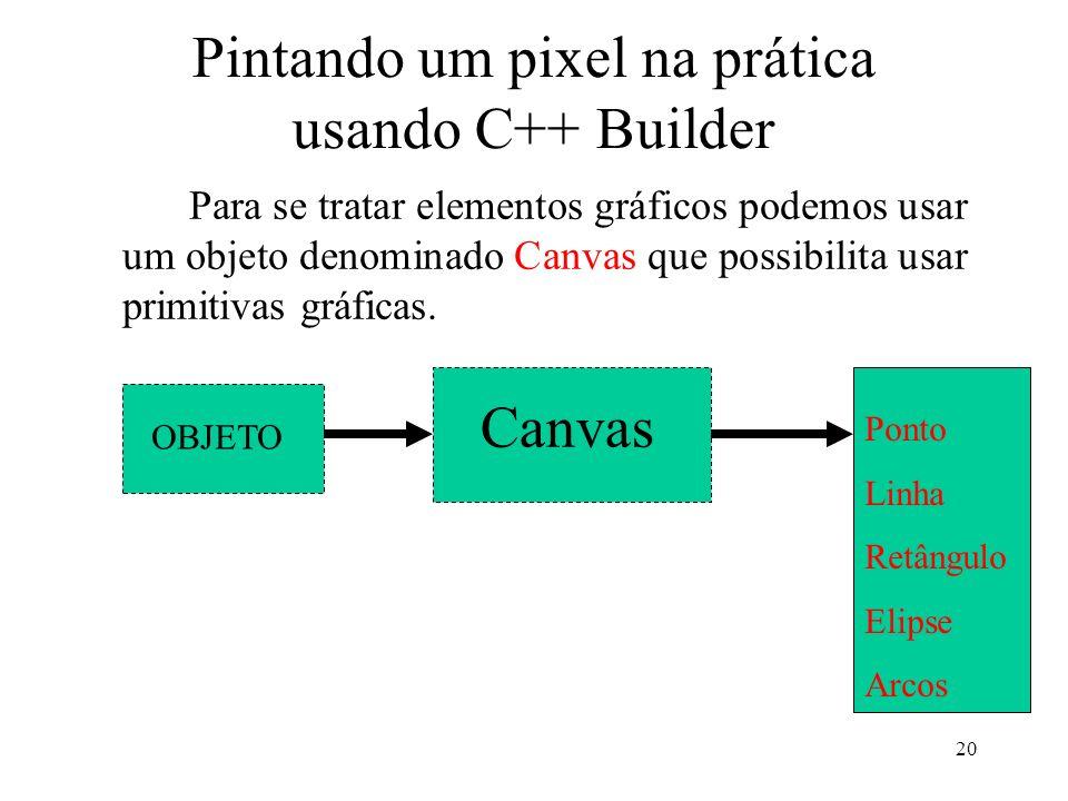 20 Pintando um pixel na prática usando C++ Builder Para se tratar elementos gráficos podemos usar um objeto denominado Canvas que possibilita usar pri