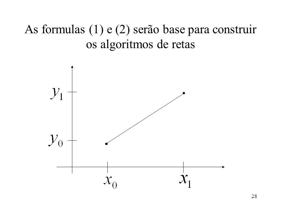 28 As formulas (1) e (2) serão base para construir os algoritmos de retas