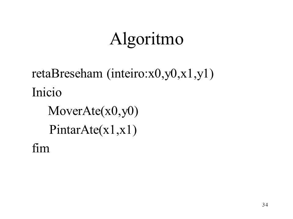 34 Algoritmo retaBreseham (inteiro:x0,y0,x1,y1) Inicio MoverAte(x0,y0) PintarAte(x1,x1) fim