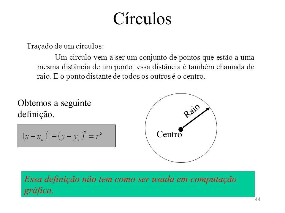 44 Círculos Traçado de um círculos: Um circulo vem a ser um conjunto de pontos que estão a uma mesma distância de um ponto; essa distância é também ch