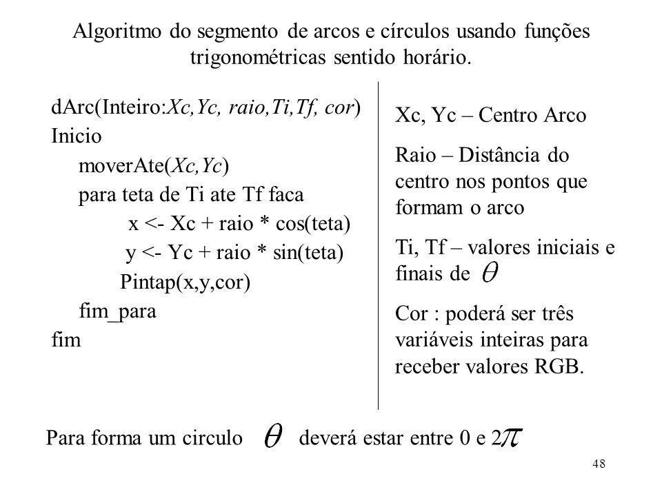48 Algoritmo do segmento de arcos e círculos usando funções trigonométricas sentido horário. dArc(Inteiro:Xc,Yc, raio,Ti,Tf, cor) Inicio moverAte(Xc,Y