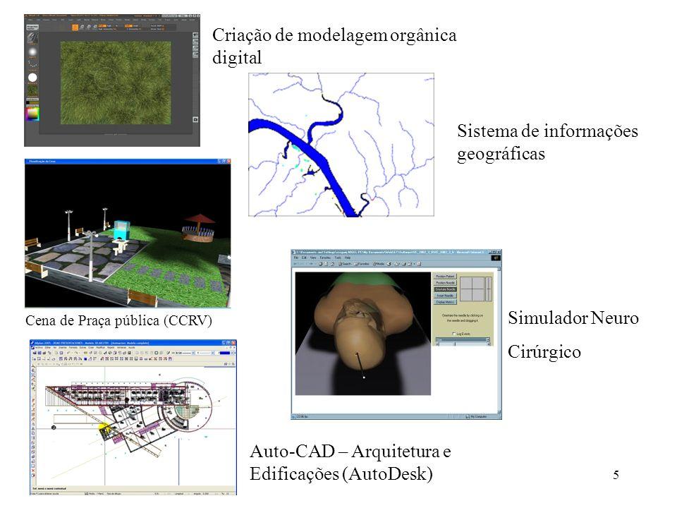 5 Criação de modelagem orgânica digital Sistema de informações geográficas Auto-CAD – Arquitetura e Edificações (AutoDesk) Simulador Neuro Cirúrgico C