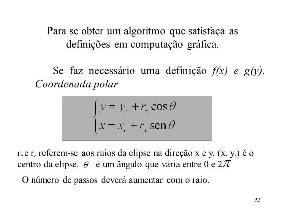 53 Para se obter um algoritmo que satisfaça as definições em computação gráfica. Se faz necessário uma definição f(x) e g(y). Coordenada polar r x e r
