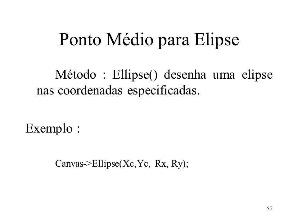 57 Ponto Médio para Elipse Método : Ellipse() desenha uma elipse nas coordenadas especificadas. Exemplo : Canvas->Ellipse(Xc,Yc, Rx, Ry);