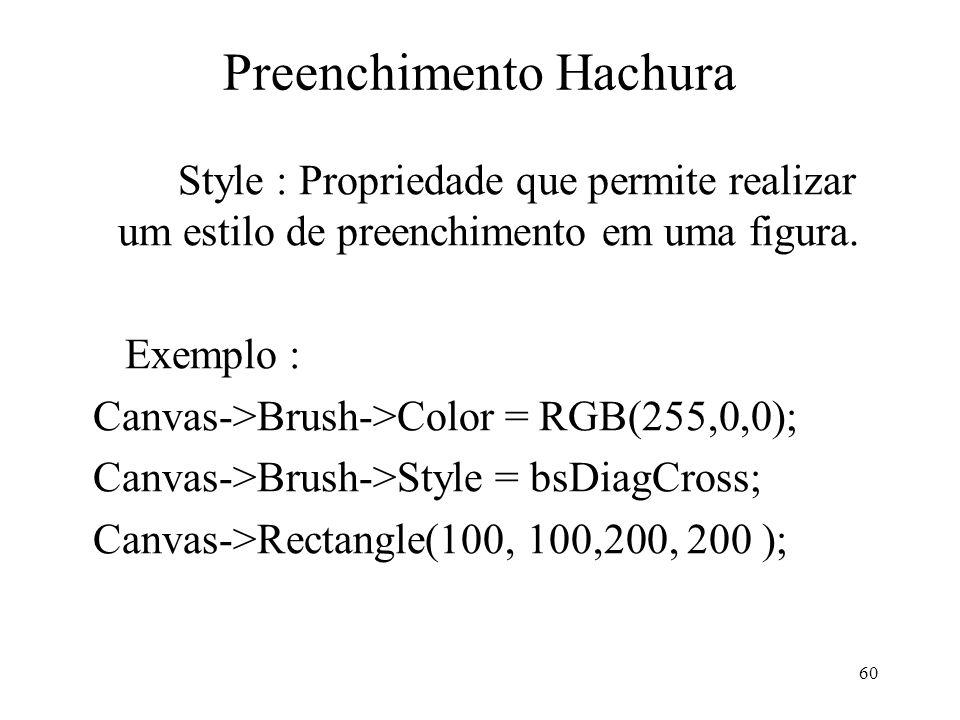 60 Preenchimento Hachura Style : Propriedade que permite realizar um estilo de preenchimento em uma figura. Exemplo : Canvas->Brush->Color = RGB(255,0