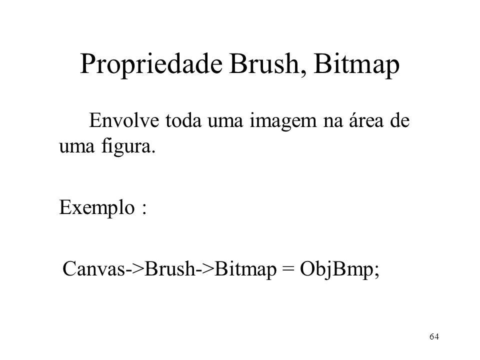 64 Propriedade Brush, Bitmap Envolve toda uma imagem na área de uma figura. Exemplo : Canvas->Brush->Bitmap = ObjBmp;