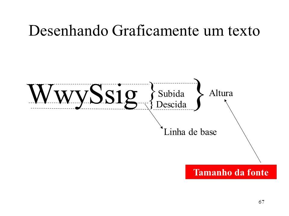 67 Desenhando Graficamente um texto WwySsig } Subida } Descida Linha de base } Altura Tamanho da fonte