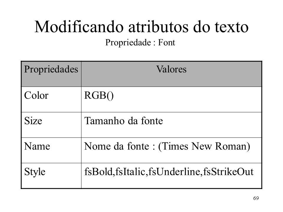 69 Modificando atributos do texto Propriedade : Font PropriedadesValores ColorRGB() SizeTamanho da fonte NameNome da fonte : (Times New Roman) Stylefs