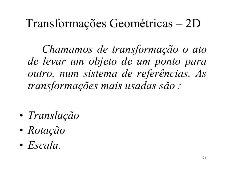 71 Transformações Geométricas – 2D Chamamos de transformação o ato de levar um objeto de um ponto para outro, num sistema de referências. As transform