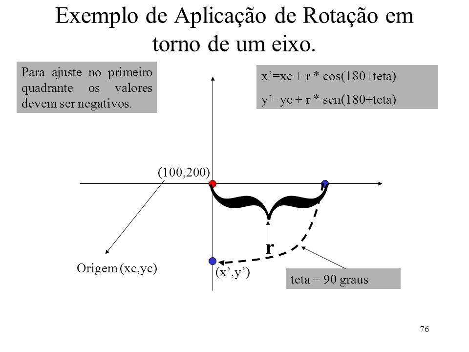 76 Exemplo de Aplicação de Rotação em torno de um eixo. Origem (xc,yc) (100,200) { x=xc + r * cos(180+teta) y=yc + r * sen(180+teta) teta = 90 graus r