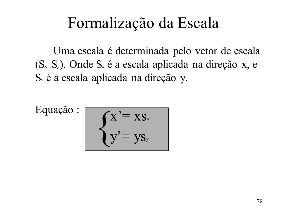 79 Formalização da Escala Uma escala é determinada pelo vetor de escala (S x, S y ). Onde S x é a escala aplicada na direção x, e S y é a escala aplic
