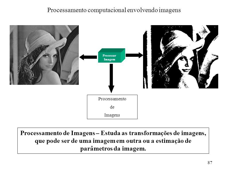 87 Processamento computacional envolvendo imagens Processar Imagem Processamento de Imagens Processamento de Imagens – Estuda as transformações de ima