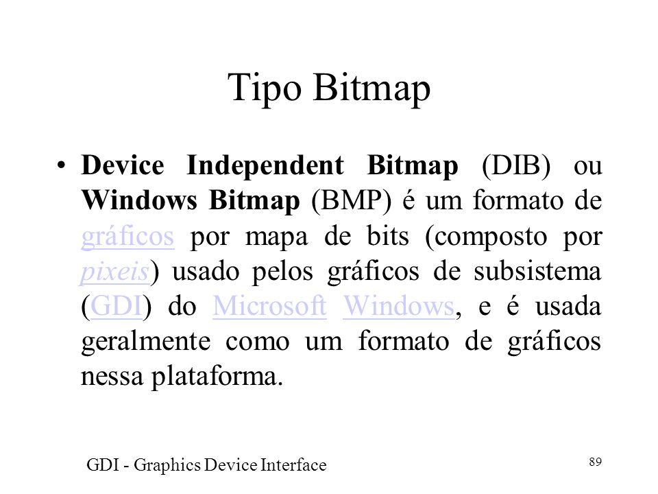 89 Tipo Bitmap Device Independent Bitmap (DIB) ou Windows Bitmap (BMP) é um formato de gráficos por mapa de bits (composto por pixeis) usado pelos grá