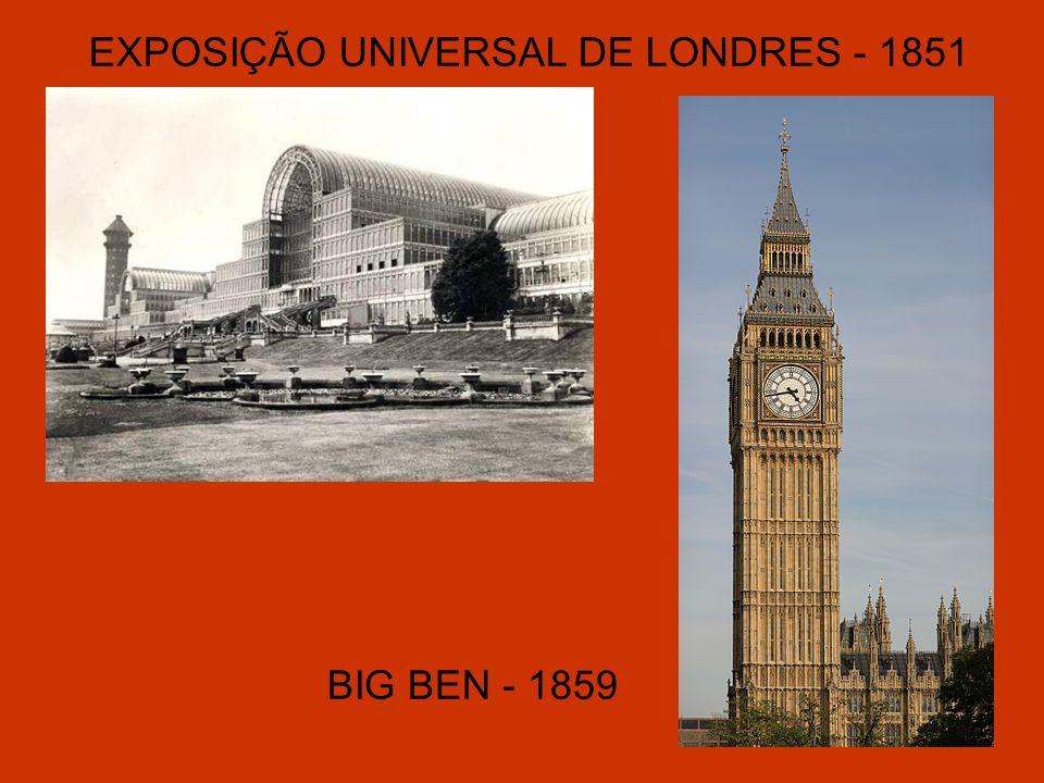 EXPOSIÇÃO UNIVERSAL DE LONDRES - 1851 BIG BEN - 1859