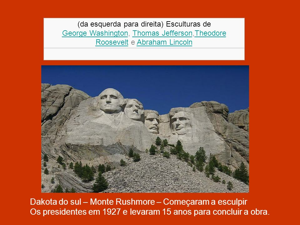 (da esquerda para direita) Esculturas de George WashingtonGeorge Washington, Thomas Jefferson,Theodore Roosevelt e Abraham LincolnThomas JeffersonTheo