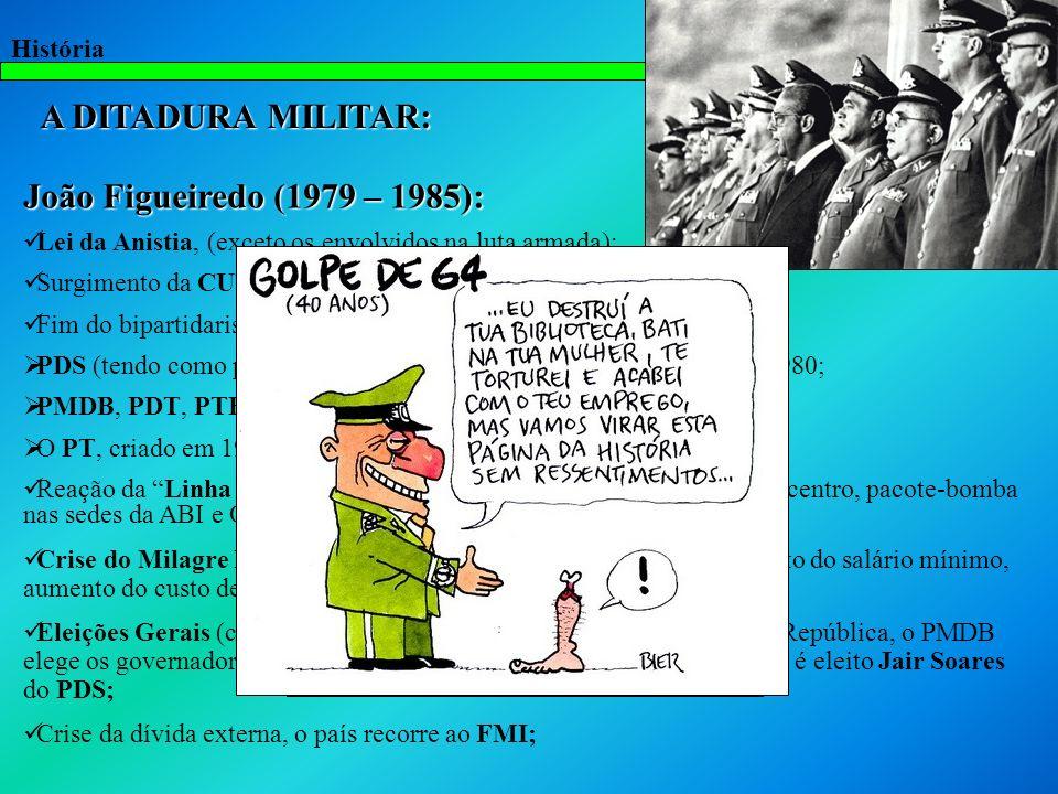 História A DITADURA MILITAR: João Figueiredo (1979 – 1985): Lei da Anistia, (exceto os envolvidos na luta armada); Surgimento da CUT (SP) e do MST (RS