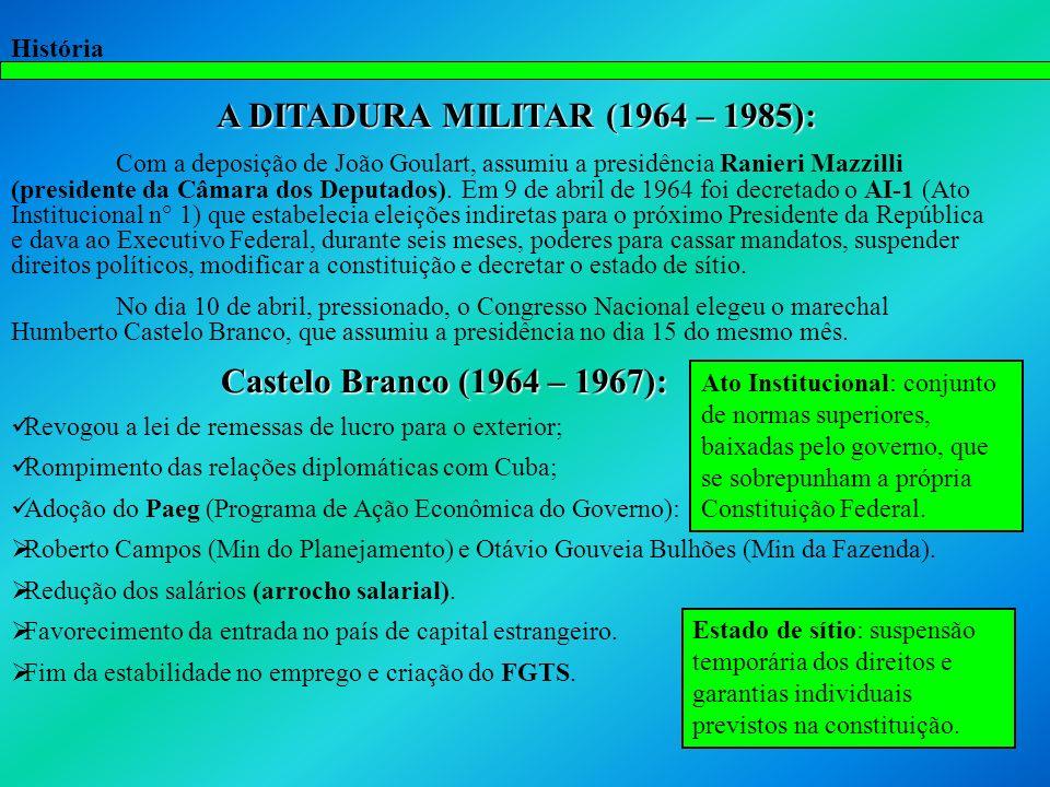 História A DITADURA MILITAR (1964 – 1985): Com a deposição de João Goulart, assumiu a presidência Ranieri Mazzilli (presidente da Câmara dos Deputados