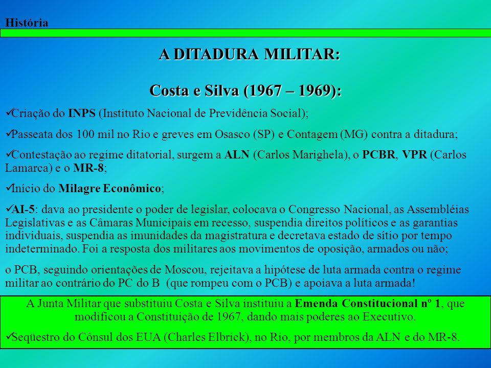 História A DITADURA MILITAR: Costa e Silva (1967 – 1969): Criação do INPS (Instituto Nacional de Previdência Social); Passeata dos 100 mil no Rio e gr