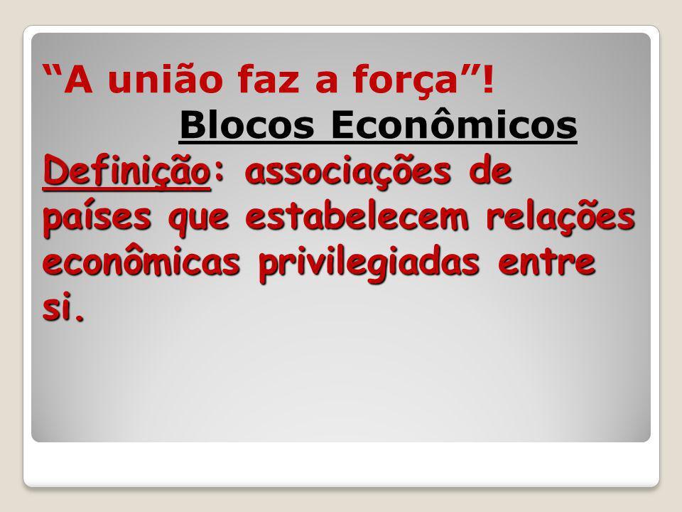 Definição: associações de países que estabelecem relações econômicas privilegiadas entre si. A união faz a força! Blocos Econômicos Definição: associa