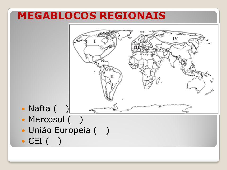 MEGABLOCOS REGIONAIS Nafta ( ) Mercosul ( ) União Europeia ( ) CEI ( )